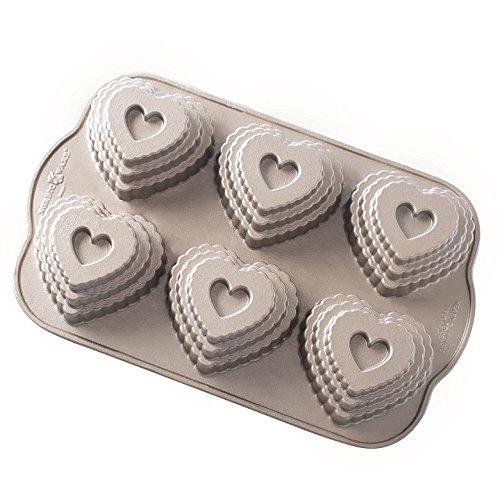 Heart Cast (Nordic Ware 90937 Cast Bundt Bakeware Tiered Heart Cakelets)