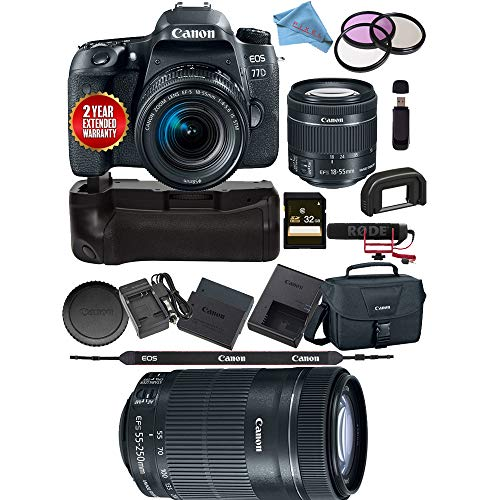 Canon EOS 77D DSLR Camera 18-55mm Lens 1892C016 + Canon EF-S 55-250mm f/4-5.6 is STM Lens 8546B002 USA Bundle