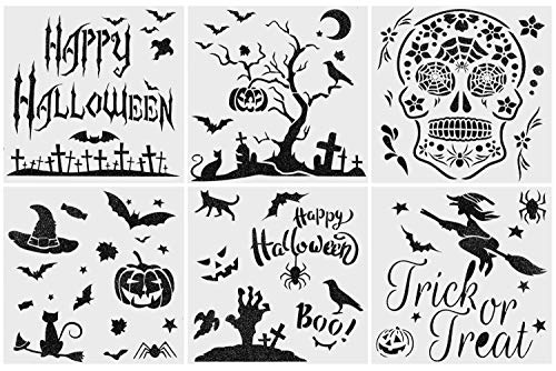 Aozer Halloween DIY Decorative Stencils Set of 6 Pack 6x6 Inch for Painting on Wood, Craft Cards Making, Wall/Glass Painting, Home Decor Or More