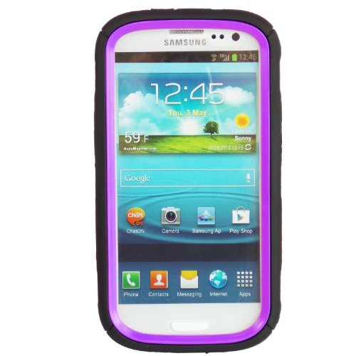 WwWSuppliers Hello Kitty Hybrid Case for Samsung Galaxy S3 III i9300 Purple High Impact Bow Cover + Free Screen Protector & Stylus SHIPS NEXT DAY FROM USA