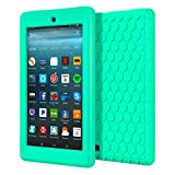 MoKo Case for All-New Amazon Fire 7 2017 (7' Tablet, 7th Generation, 2017 Release Only) - [Honey Comb Series] Light Weight Shock Proof Soft Silicone Back Cover [Kids Friendly] for Fire 7, Mint GREEN