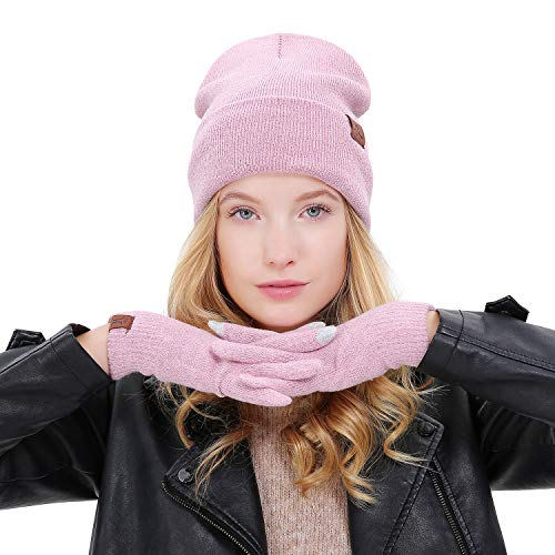 Maylisacc Warm Cuffed Beanie Knit Hat + Texting Glove Touchscreen Set for Teen Young Girl Pink
