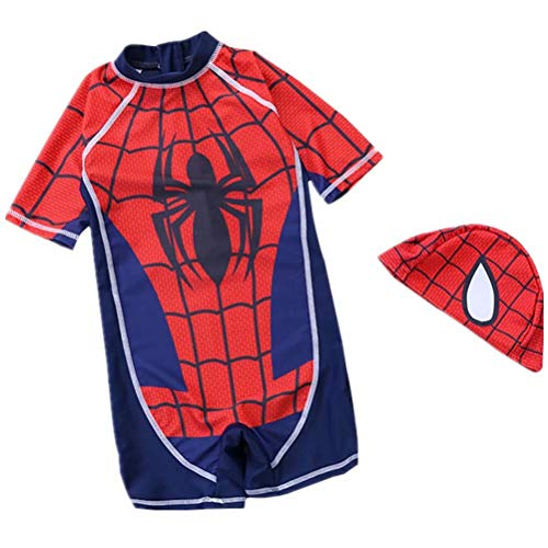 Tsyllyp 2019 Boys One Piece Swimsuits Spiderman Captain Swimwear Quick-Drying