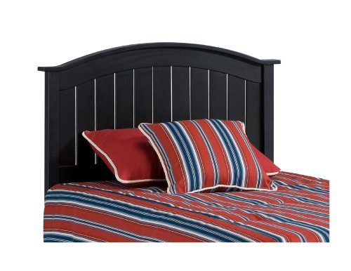 Bed Plantation Queen - Finley Wooden Headboard Panel with Curved Top Rail Design, Black Finish, Full / Queen