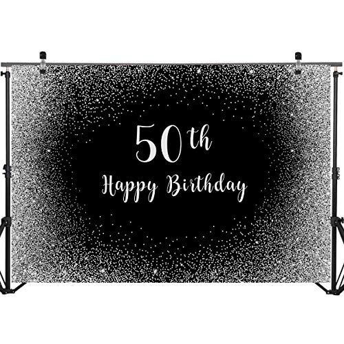 YEELE 50th Birthday Backdrop for Man 10x8ft Step and Repeat Vintage Dude Birthday Photography Background Man 50th Anniversary Photo Booth Artistic Portrait Dessert Table Photoshoot Digital Wallpaper