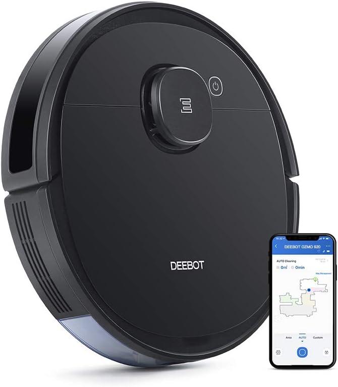 مكنسة كهربائية روبوتية ديبوت اوزمو 920 من ايكوفكس 2 في 1 للتنظيف ومسح الارض بتقنية الليزر سمارت نافي 3.0 يمكنها حفظ خريطة عدة طوابق وبميزة الحائط الافتراضي وتعمل على السجاد والأرضيات الصلبة