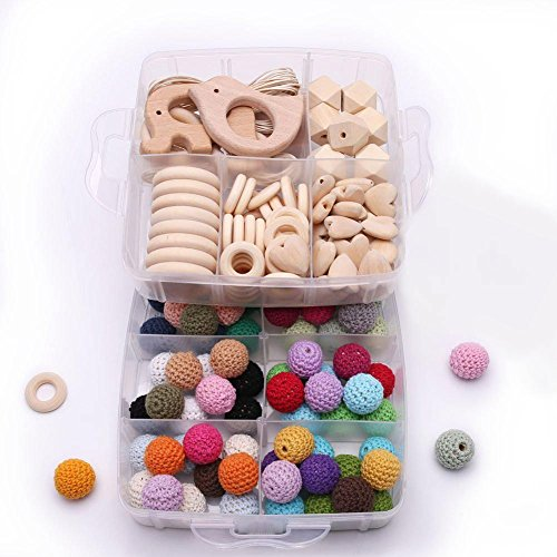 2 Layers Wood Teethers Diy Crochet Beads Wooden Rings Animal Rattle Organic Jungle Toy Waldorf Toys Teether DIY Tools Cords Baby with Case Polished Mom Ring