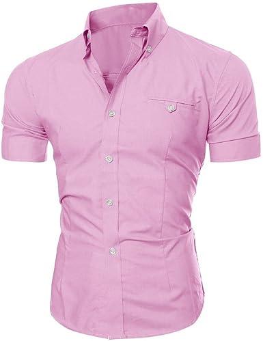 Winwintom Los Hombres de Negocios Elegante Moda Casual Slim Fit de Manga Corta Camiseta (M, Rosa): Amazon.es: Ropa y accesorios