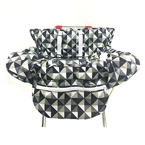 Unisex-Baby's 2-in-1 Shopping Cart Cover and High Chair Cover with Foldable Bag, Univeral Size, Triangle Grid from LOVENGO BABY