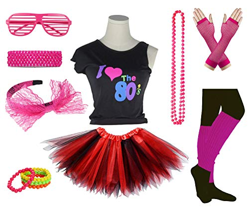 Girls I Love The 80's Disco T-Shirt for 1980s Theme Party Outfit (Black&Red, 7-8 Years)]()