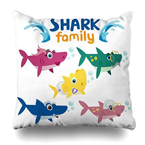 Kutita Decorativepillows Covers 18 x 18 inch Throw Pillow Covers, Family Shark Colorful Cartoon Fish White Pattern Double-Sided Decorative Home Decor Pillowcase