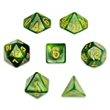 7 Die Polyhedral Dice Set - Jade Oil (Green Pearl) with Velvet Pouch by Wiz Dice