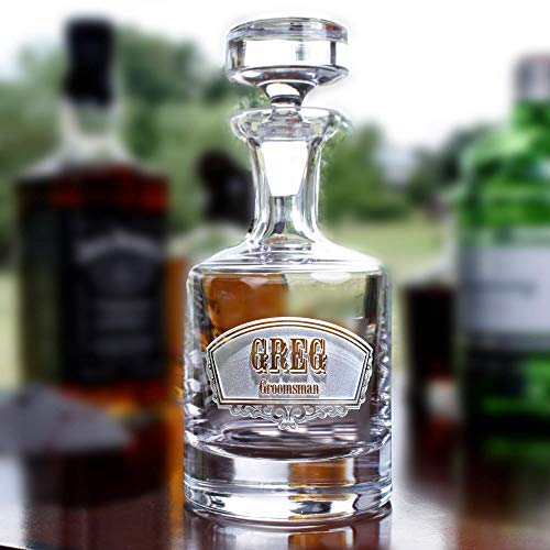 (Groomsman Gift Engraved Decanter for Whiskey, Scotch, Bourbon, Rye, Gin, Vodka, Liquor)