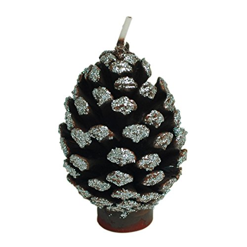 ILIKEPAR Christmas Candles Smokeless Cake Topper Candle for Party Supplies (Silver Pine Cone)