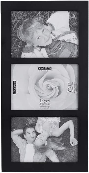 Malden 5x7 3-Opening Collage Picture Frame, Displays Three, Black