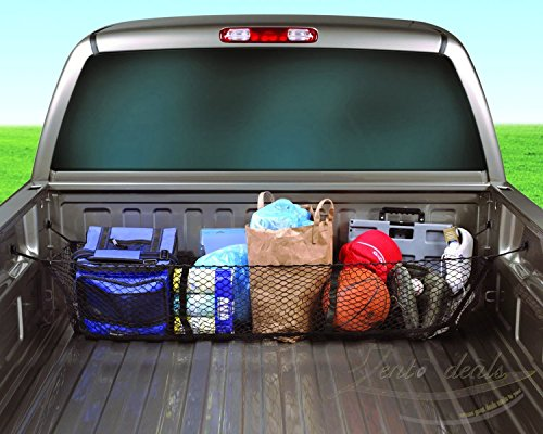 (Zento Deals Black Mesh Three Pocket Trunk Cargo Organizer Storage Net)
