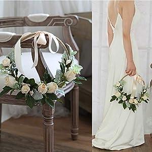 Ivory White Rose Minimalist Idea Wedding Arrangement Bridal Bouquet Bridesmaid Bouquets Hold a Wreath of Flowers Artificial Fake Flower a Circular Door Lintel 2