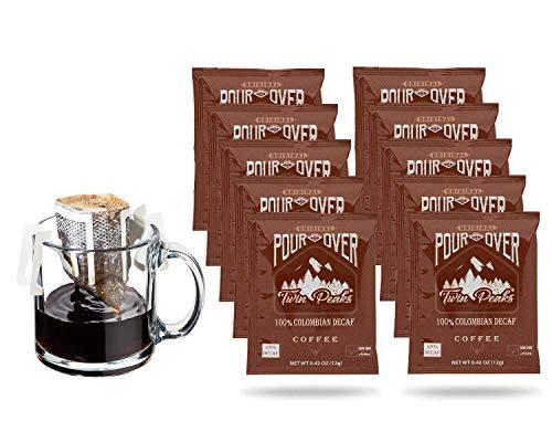 Twin Peaks Premium 100% All Natural Single-Serve Pour Over Colombian Arabica Coffee, Non GMO, Decaf, 10 Pouches