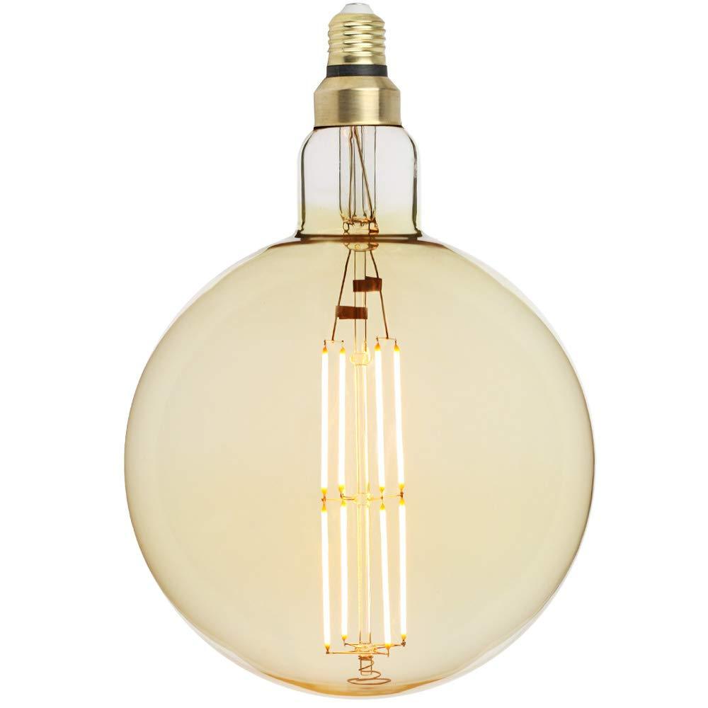 TIANFAN Large Led Bulb Vintage Edison Light Bulb G200 Big Globe Dimmable Decorative Light Bulb LED Filament Bulb, E27 Screw Base, Super Warm White 2000K, 8W 220V, Amber Haining Techfan Electronic Co. Ltd
