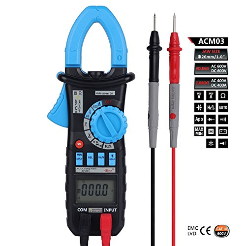 ACM03 Digital Clamp Multimeter AC DC Current Voltage Resistance Capacitance Hz Meter Tester NCV Function
