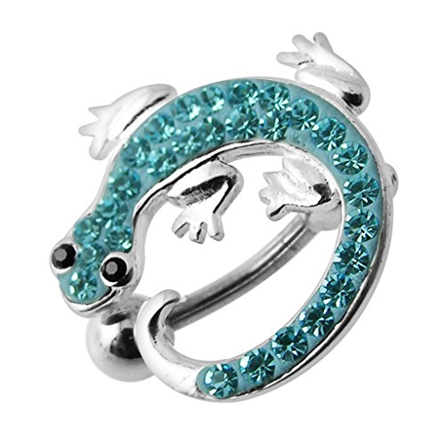 Aquamarine Multi Crystal Stone Lizard Reverse Bar Design 925 Sterling Silver Belly Button Piercing Ring Jewelry