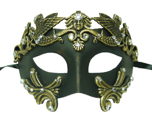Roman Style Venetian Hand Painted Mask in Gold with Stones - Adult Gold And Beads Venetian Mask