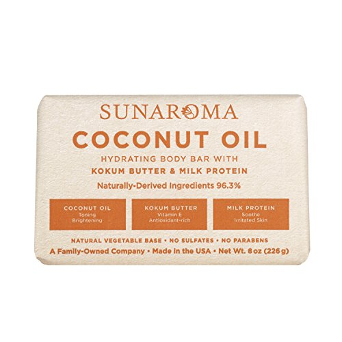 Sunaroma Coconut Kokum Butter Soap (8 oz) - Natural Soap Brightens and Tones Dull Skin - Kokum Butter and Milk Protein Soothe and Moisturize the Complexion - Paraben and Sulfate (Lauric Acid Coconut)