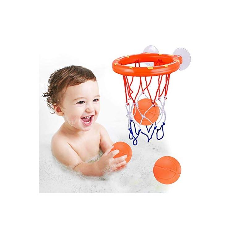 ENTHUR Bath Toy Fun Basketball Hoop & Balls Set for Boys and Girls Kid & Toddler Bath Toys Gift Set 3 Balls Included
