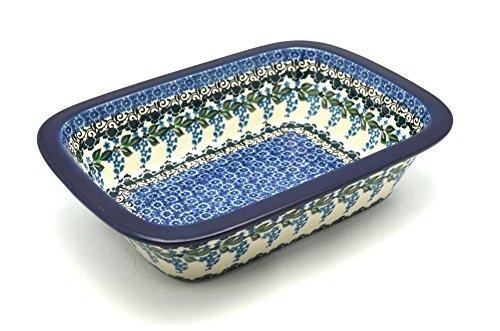 Polish Pottery Baker - Rectangular with Grip Lip - Wisteria