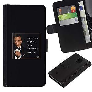 All Phone Most Case / Oferta Especial Cáscara Funda de cuero Monedero Cubierta de proteccion Caso / Wallet Case for Samsung Galaxy S5 Mini, SM-G800 // James agente secreto de texto del hombre poster