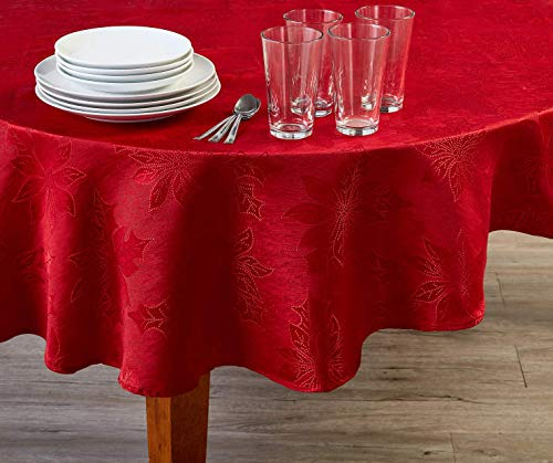 (Winter Wonder Lane Rustic Cottage Collection Red Poinsettia Fabric Tablecloth, 60 in. Round)