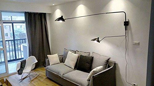 Phube Lighting Duckbilled Rotating Wall Lamp 2 Arms Modern Wall Sconce  Retro Dinning Room Bedside Wall Light (Black)     Amazon.com