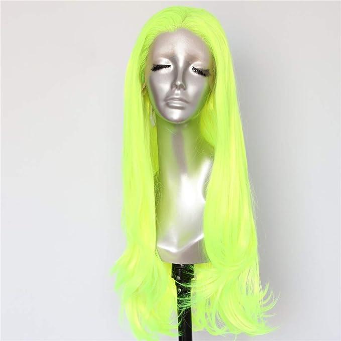 Peluca para mujer larga de color neón fluorescente