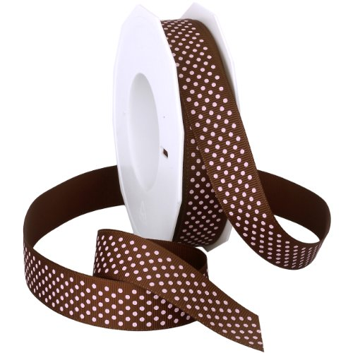 (Morex Swiss Dot Polyester Grosgrain Ribbon, 7/8-Inch by 20-Yard Spool, Brown/Pink Dots)