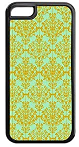 01-Floral Damask Pattern-Gold/Green Case for the APPLE IPHONE 5, 5s-NOT THE 5C!!!-Hard Black Plastic Outer Case with Tough Black Rubber Lining