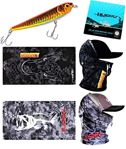 Fishing Mask Kit +Free Topwater Lure! Bass & Musky Sun Masks +Gift Box for Fishermen +Tackle Card! Neck Gaiter Balaclava Scarf 3D Fish Camo Headwear Gear with Uv Sun Bug & Dust Protection By Black Fly