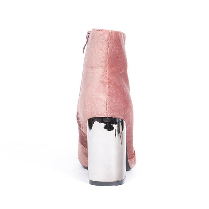 4bf5818e37e7b Ideal Shoes Bottines Effet Velours avec Talon carré Métal Priscilla Rose 41   Amazon.fr  Chaussures et Sacs