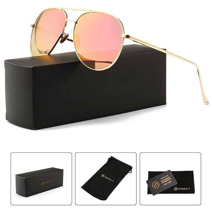 3b72acf62072 SUNGAIT Women s Lightweight Oversized Aviator sunglasses - Mirrored  Polarized Lens (Light-Gold Frame