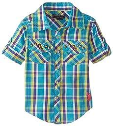 U.S. Polo Assn. Baby Girls\' Plaid Rhinestone Studded Shirt with Roll Cuff Sleeve, Turkish, 18 Months