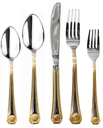 Venezia Collection 'Greek' 40-Pcs. Fine Flatware Set, Silverware Cutlery Dining Service for 8, Premium 18/10 Surgical Stainless Steel, 24K Gold-Plated Trim (Set Athena Dining)