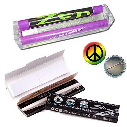 ZEN Starter Set 4tlg.: konische Drehmaschine 110mm - 2x OCB premium black slim KS Slim Papers inkl. Tips + Rasta-Peace-Button - Jointroller