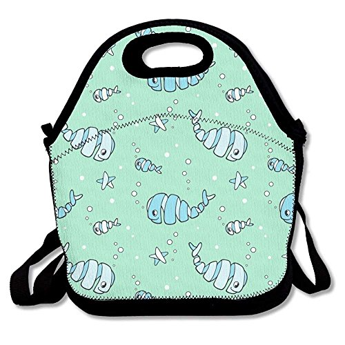 Cute Happy Whirly Whales And Fish Lunch Boxes Waterproof Picnic Lunchboxes With Zipper And Adjustable Crossbody Strap Cool