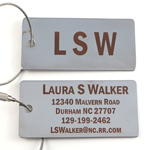 Tags Stainless Luggage Steel (Custom Silver or Gold Luggage Tag w/Stainless Steel Cable Loop - Free Dark Laser Engraving Personalization (Silver))