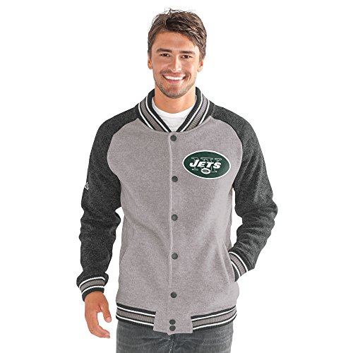 G-III Sports by Carl Banks Adult Men The Ace Sweater Varsity Jacket, Gray, Large