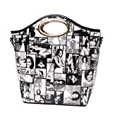 Stylish Black White Michelle Obama Oval Top Handle Satchel Bag