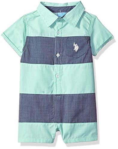 U.S. Polo Assn. Baby Boys Romper, Thicket Stripes Multi Plaid, 3-6 Months