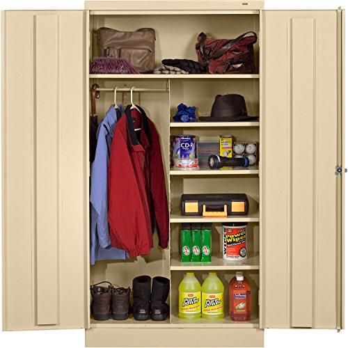 "Tennsco 7214 24 Gauge Steel Standard Welded Combination Storage Cabinet, 5 Shelves, 150 lbs Capacity per Shelf (50 lbs per half shelf), 36"" Width x 72"" Height x 18"" Depth, Putty from Tennsco"