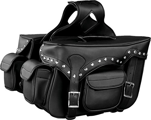 - Milwaukee Performance SH66601ZB Black Zip-Off Double Pocket Studded PVC Throw Over Saddle Bag with Reflective Piping