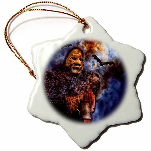 Doreen Erhardt Halloween Collection - A Tankard of Harvest Brew Makes You Howl at the Moon on Halloween - 3 inch Snowflake Porcelain Ornament (240112_1) ()