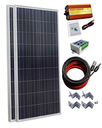 ECO-WORTHY 300 Watt (2pcs 150W) Solar Panel Kit + 1000 Watt 24V-110V Pure Sine Wave Inverter + Solar Controller +Kits for RV, Boat, Cabin, Off-Grid 12 Volt Battery System Cabin Solar Systems